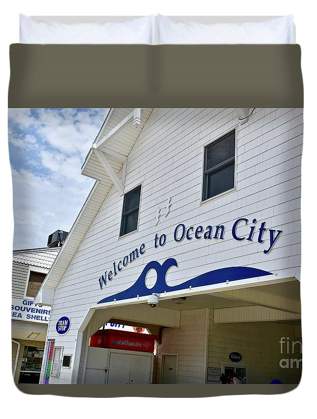 Beach Duvet Cover featuring the photograph Welcome To Ocean City Maryland by Jeramey Lende