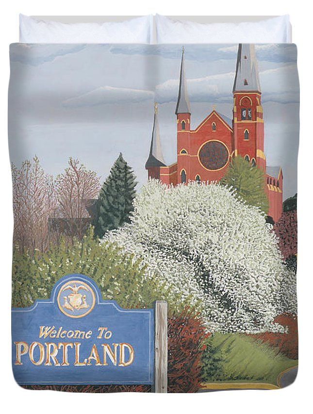 Church Duvet Cover featuring the painting Welcome To Portland by Dominic White