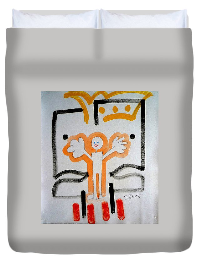Drawing Duvet Cover featuring the painting welcome to the U N by Charles Stuart