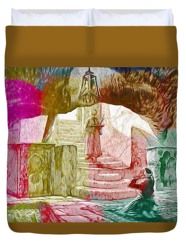 Well Of Souls Duvet Cover featuring the painting Well Of Souls by Munir Alawi