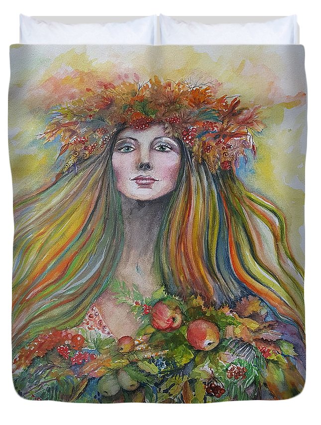 Autumn Duvet Cover featuring the painting Welcome To Autumn by Rita Fetisov