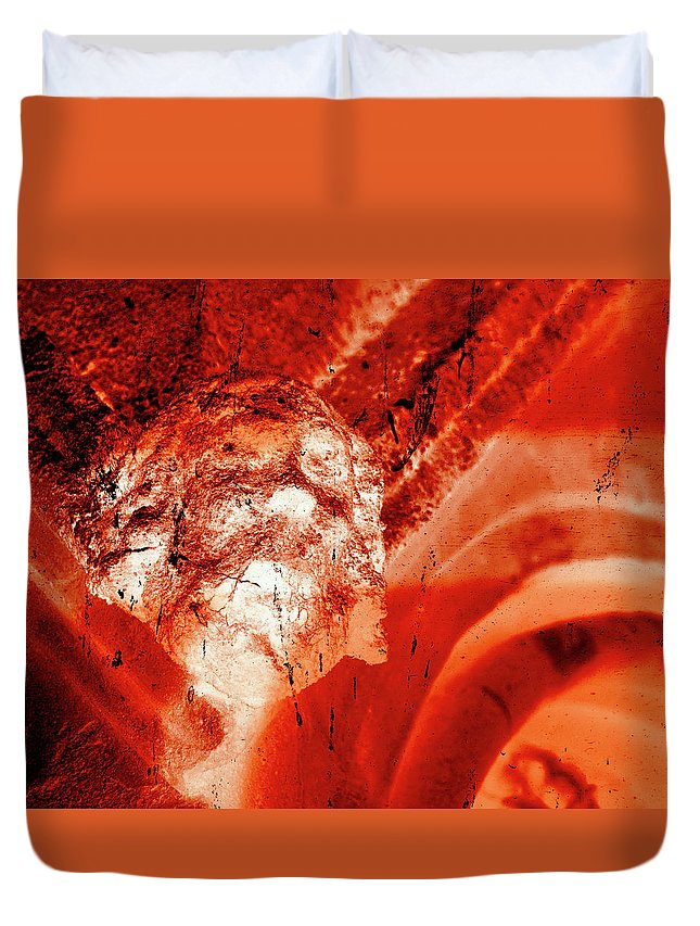 Aged Duvet Cover featuring the photograph Wells Cathedral Gargoyles Color Negative C by Jacek Wojnarowski