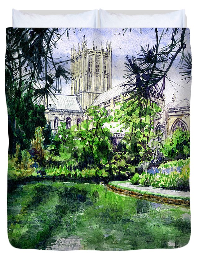Wells Duvet Cover featuring the painting Wells Cathedral by John D Benson