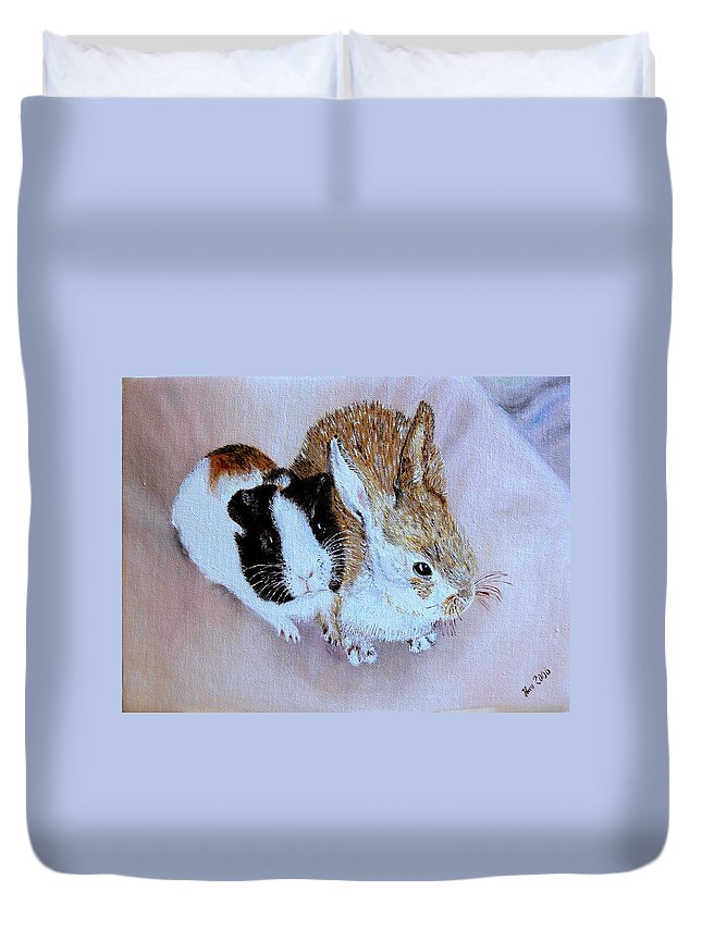 Pets Duvet Cover featuring the painting Wendy And Bobby by Helmut Rottler