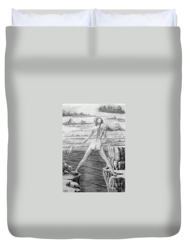 Nude Duvet Cover featuring the drawing Wendy From Memory. by Murphy Elliott