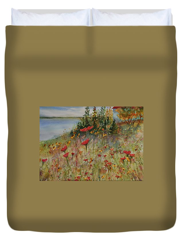 Nature Duvet Cover featuring the painting Wendy's Wildflowers by Ruth Kamenev