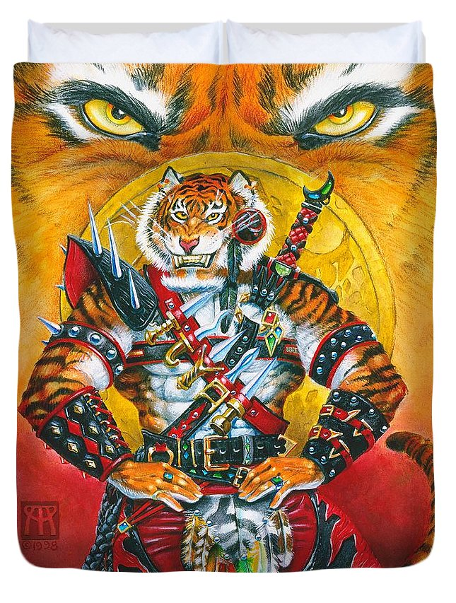 Fantasy Duvet Cover featuring the painting Werecat Warrior by Melissa A Benson