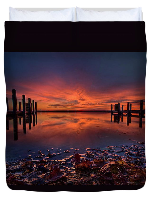 Sunrise Duvet Cover featuring the photograph West Boat Launch Fall Sunrise by Ron Wiltse