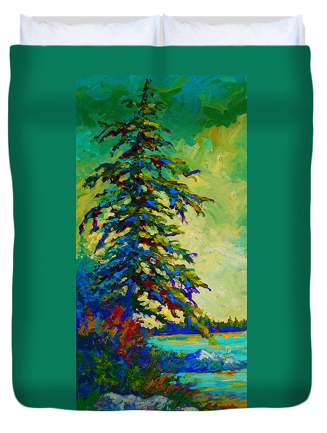 West Coastal Duvet Cover featuring the painting West Coast Sentinel by Marion Rose
