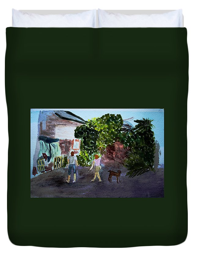 Landscapes Duvet Cover featuring the painting West End Shopping by Donna Walsh