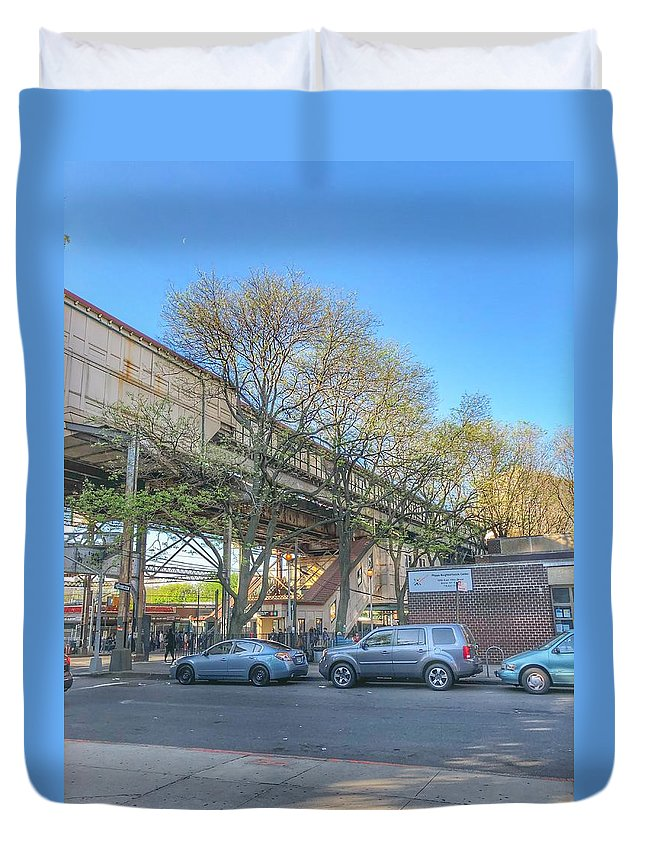 This Is A Photo Of The West Farm Elevated Train Station Duvet Cover featuring the photograph West Farm Station by William Rogers