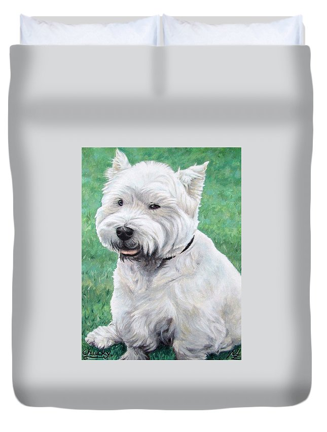 Dog Duvet Cover featuring the painting West Highland Terrier by Nicole Zeug