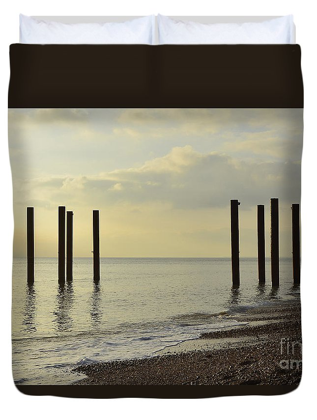 West Pier Duvet Cover featuring the photograph West Pier Supports by Smart Aviation