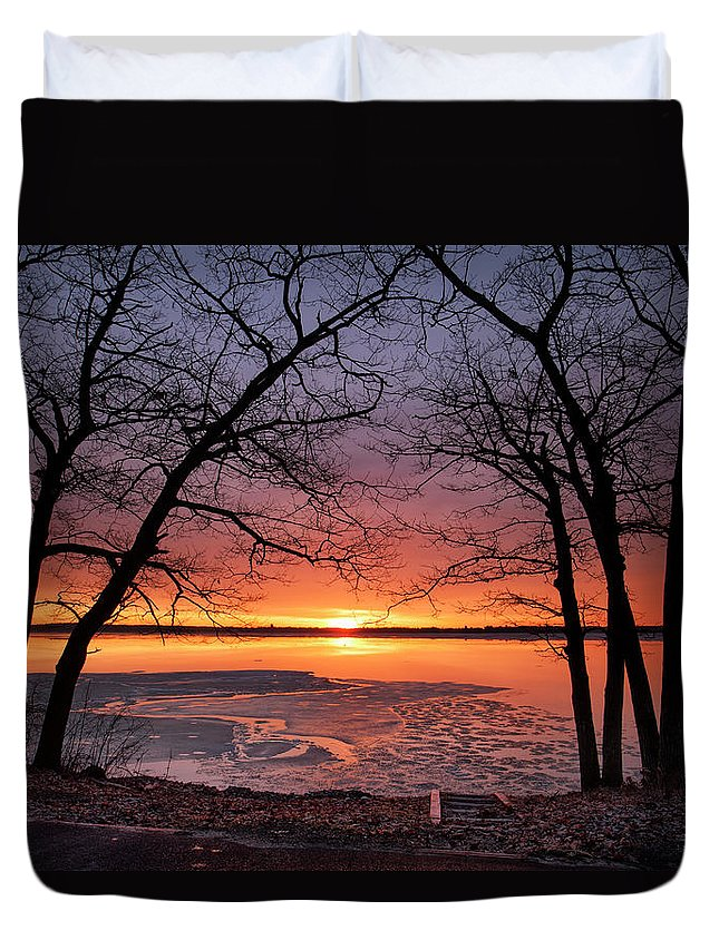 Higgins Lake Duvet Cover featuring the photograph West Pine Road End Sunrise by Ron Wiltse