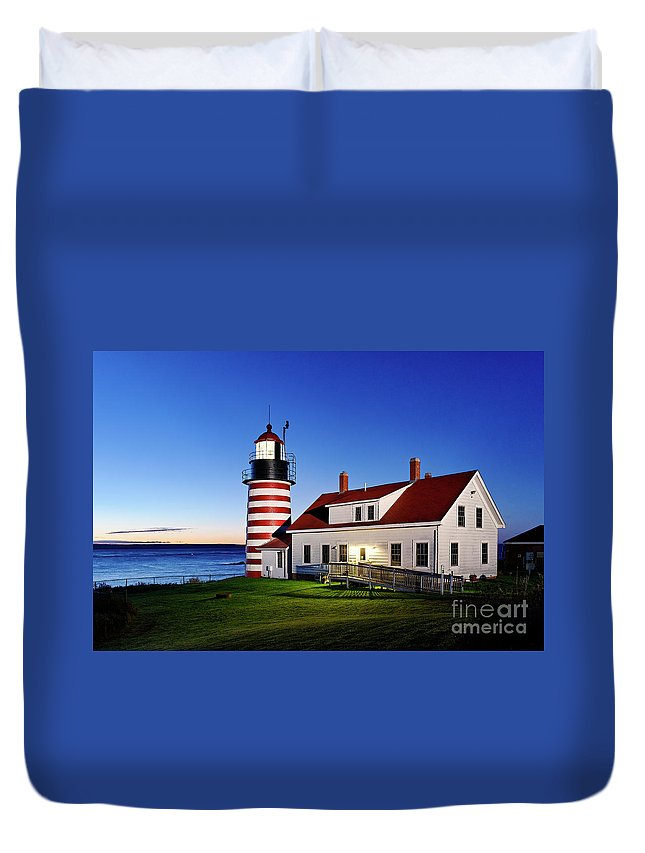 Lubec Duvet Cover featuring the photograph West Quoddy Lighthouse by John Greim
