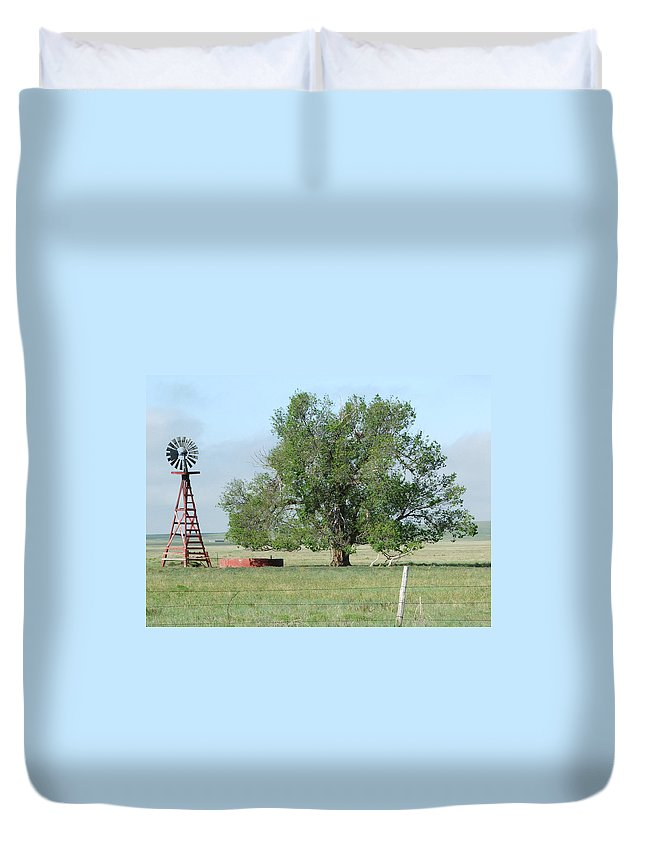 Texas Duvet Cover featuring the photograph West Texas Windmill by Bob W Brown