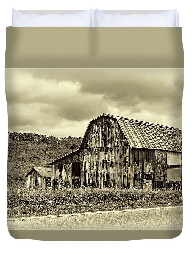 West Virginia Duvet Cover featuring the photograph West Virginia Barn Sepia by Steve Harrington