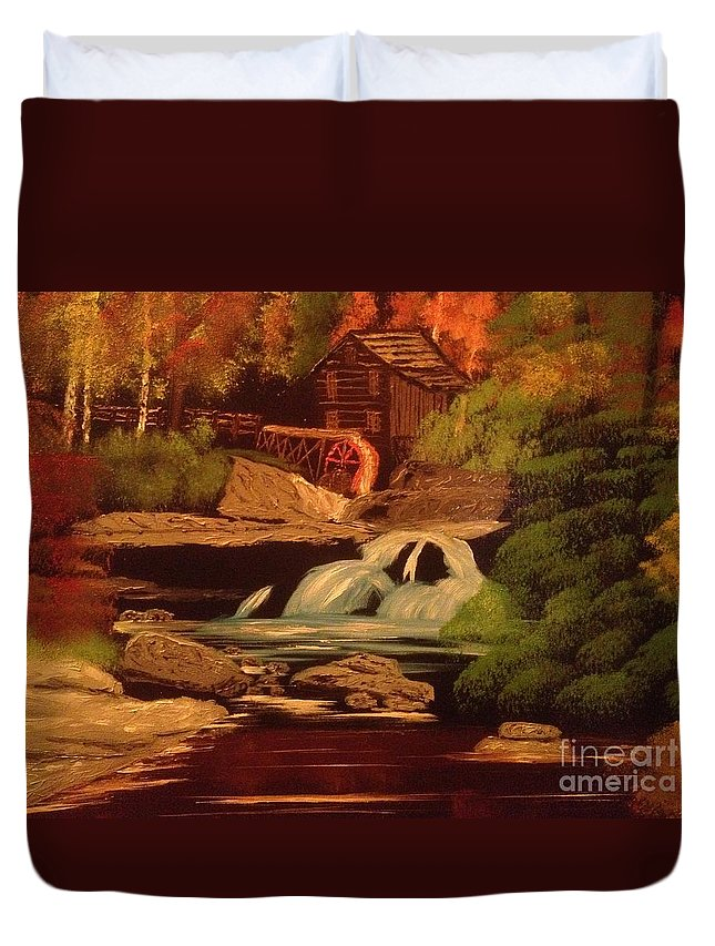 Original Duvet Cover featuring the painting West Virginia Grist Mill by Tim Blankenship