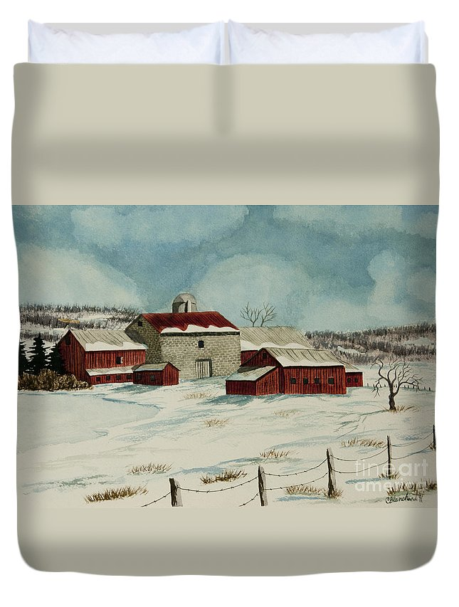 Winter Scene Paintings Duvet Cover featuring the painting West Winfield Farm by Charlotte Blanchard