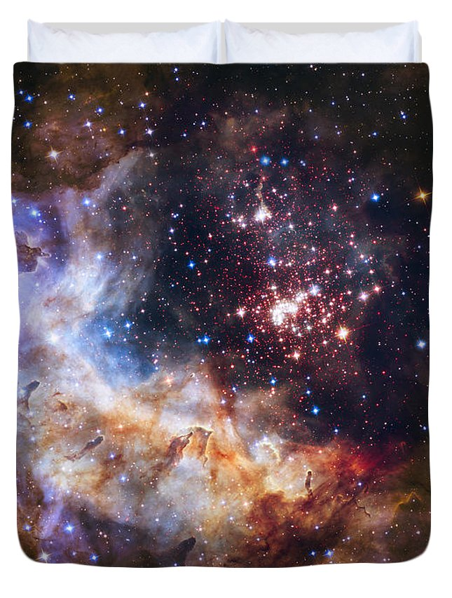 3scape Duvet Cover featuring the photograph Westerlund 2 - Hubble 25th Anniversary Image by Adam Romanowicz