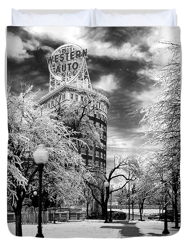Western Auto Kansas City Duvet Cover featuring the photograph Western Auto In Winter by Steve Karol