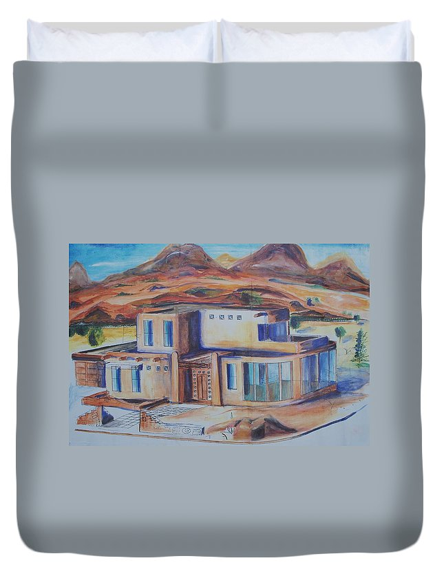Floral Duvet Cover featuring the painting Western Home Illustration by Eric Schiabor