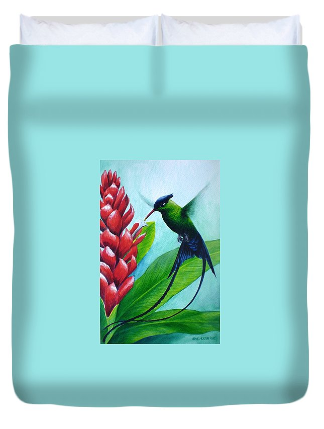 Western Streamertail Hummingbird Duvet Cover featuring the painting Western Streamertail Hummingbird by Christopher Cox