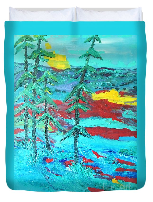 Landscape Teal Blue Mountains Pine Tree Duvet Cover featuring the painting Western Sunset by Lorenz Brochert