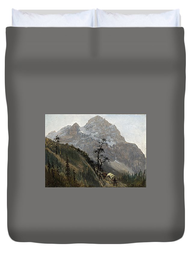 Albert Bierstadt Duvet Cover featuring the painting Western Trail by MotionAge Designs