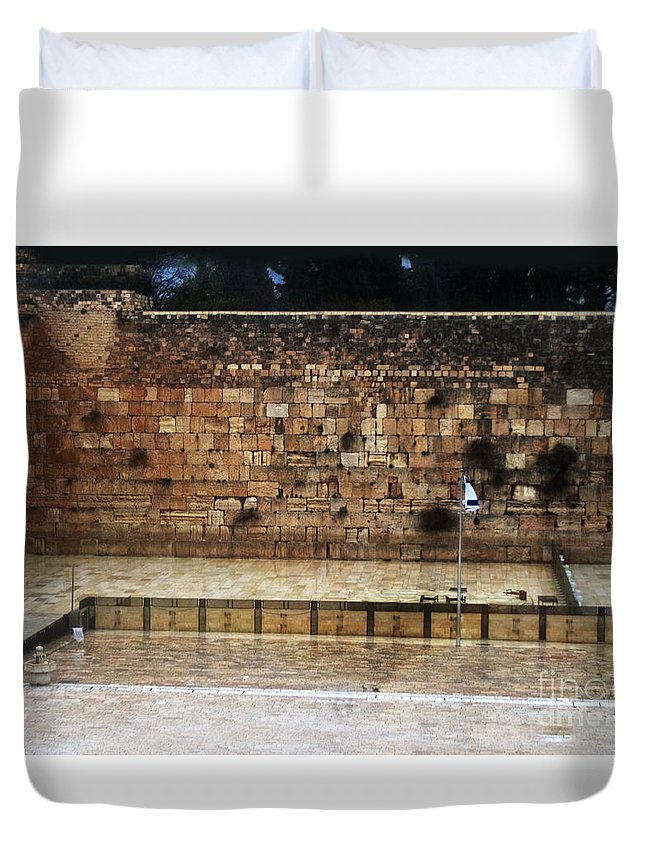 Western Wall Duvet Cover featuring the photograph Empty Western Wall by Doc Braham