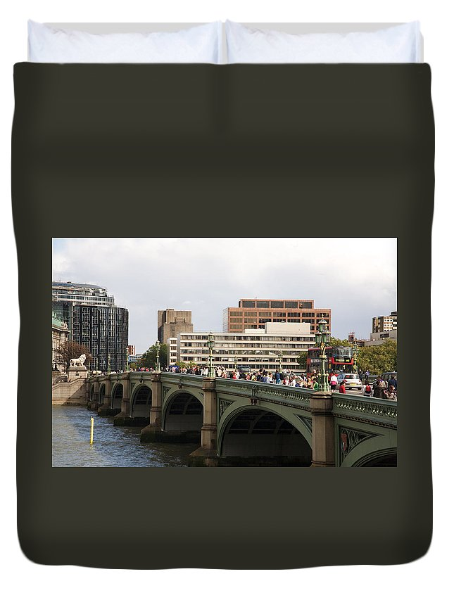 Westminster Duvet Cover featuring the photograph Westminster Bridge. by Christopher Rowlands