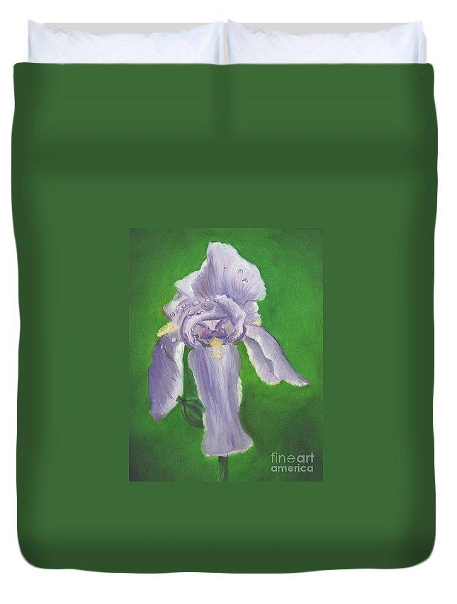 Iris Duvet Cover featuring the painting Wet Iris by Mendy Pedersen