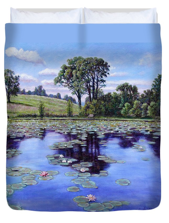 Landscape Duvet Cover featuring the painting Wet Land - Shaw Nature Reserve by John Lautermilch