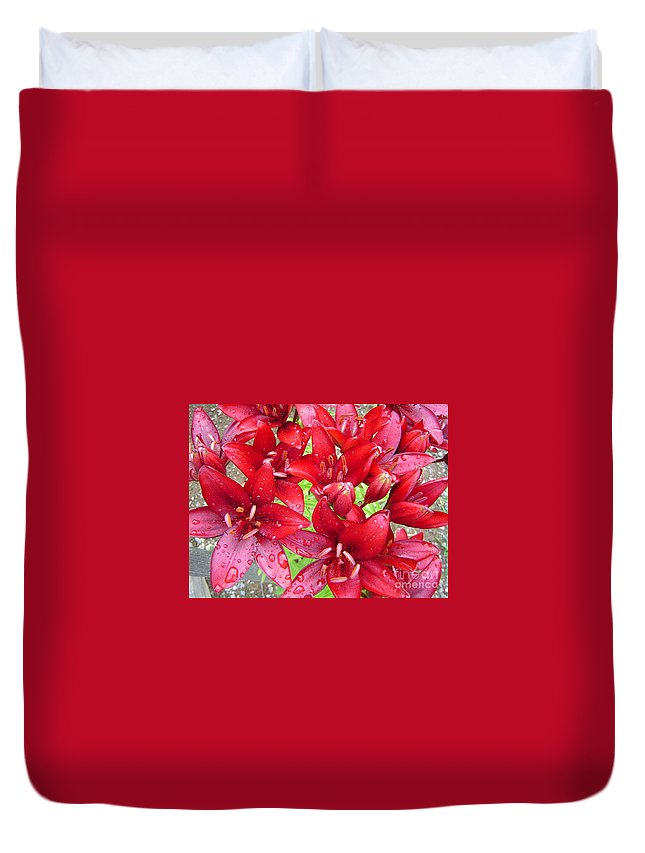 Lilies Duvet Cover featuring the photograph Wet Lilies by Rick Monyahan