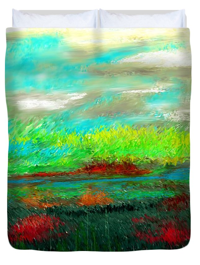Nature Duvet Cover featuring the digital art Wetlands by David Lane
