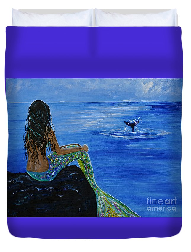 Mermaid Duvet Cover featuring the painting Whale Watcher by Leslie Allen