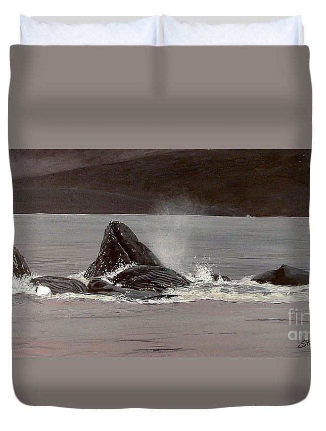 Whale Duvet Cover featuring the painting Whales Feeding by Shawn Stallings