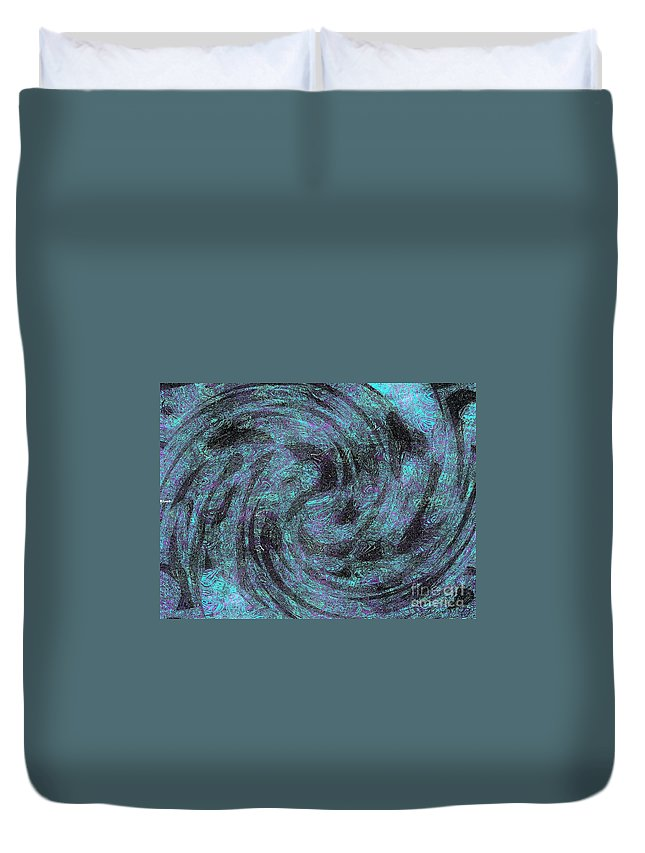 Abstract Duvet Cover featuring the digital art Whales, Sharks And Other Sea Life by Debra Lynch