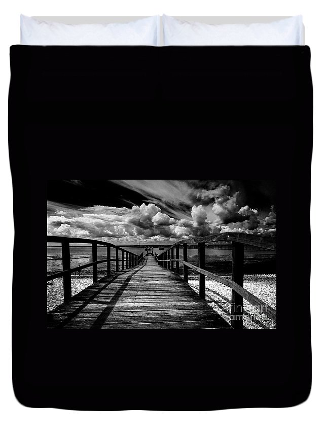 Southend On Sea Wharf Clouds Beach Sand Duvet Cover featuring the photograph Wharf At Southend On Sea by Sheila Smart Fine Art Photography