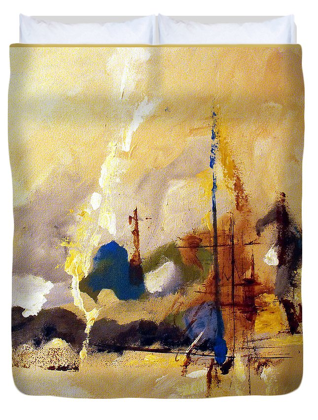 Abstract Duvet Cover featuring the painting Wharf by Ruth Palmer
