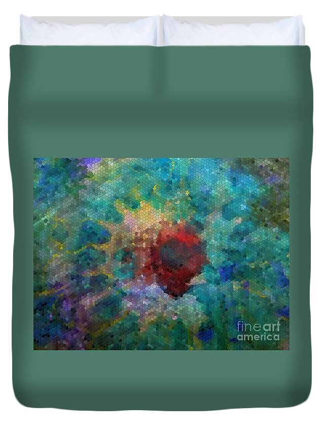 Mosaic Duvet Cover featuring the digital art What A Bee Sees by Claire Bull