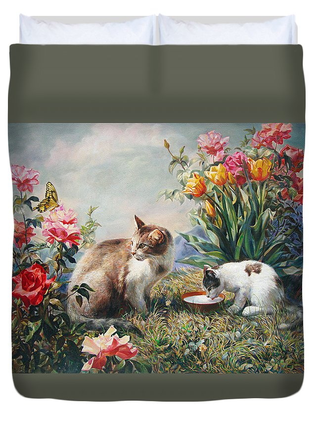 Milk Duvet Cover featuring the painting What A Girl Kitten Wants by Svitozar Nenyuk