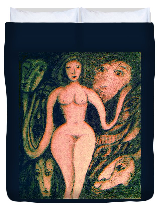 Expressionism Duvet Cover featuring the painting What Are You Looking At-13 by Natalie Holland