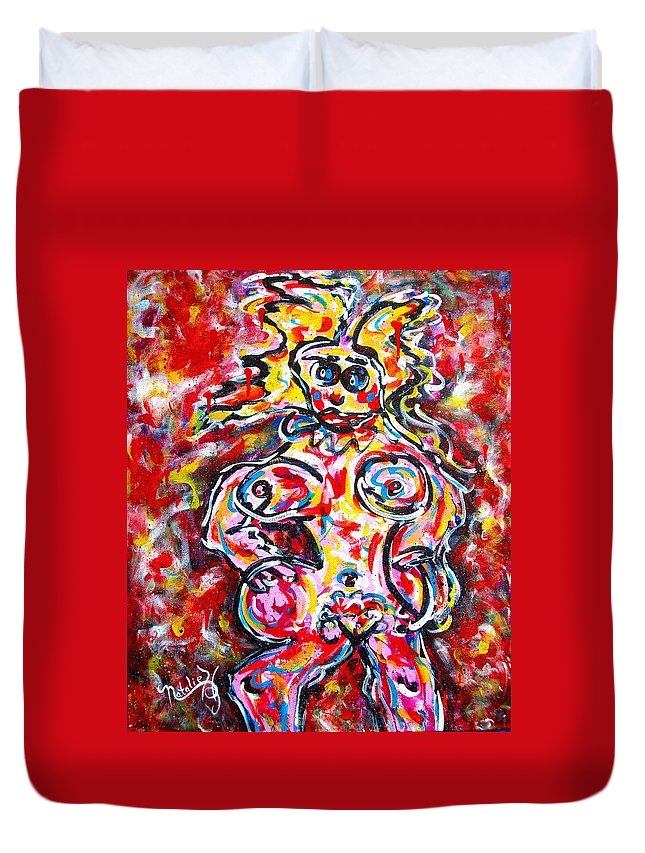 Abstracts Duvet Cover featuring the painting What Are You Looking At by Natalie Holland