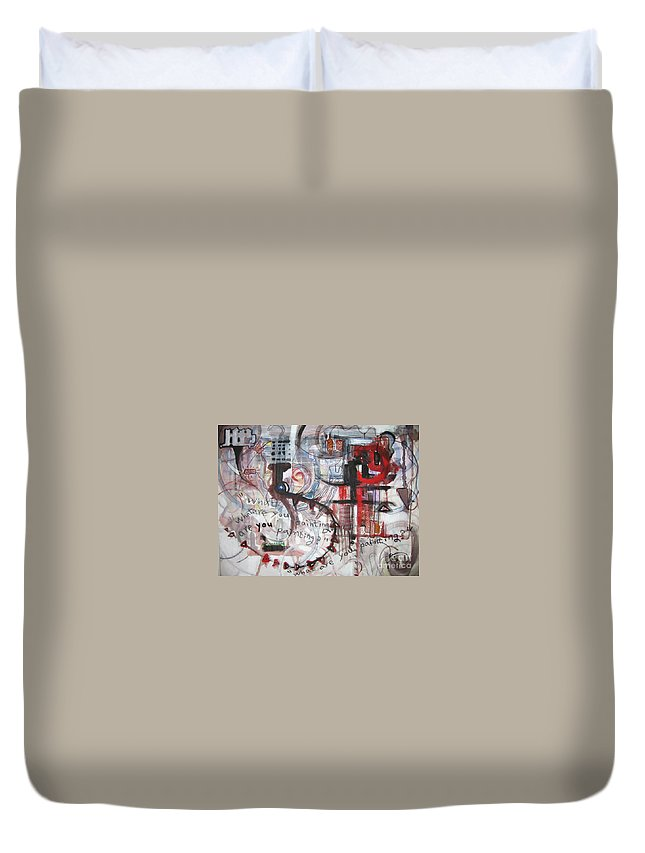 Abstract Paintings Duvet Cover featuring the painting What Are You Painting-red And Brown Painting by Seon-Jeong Kim