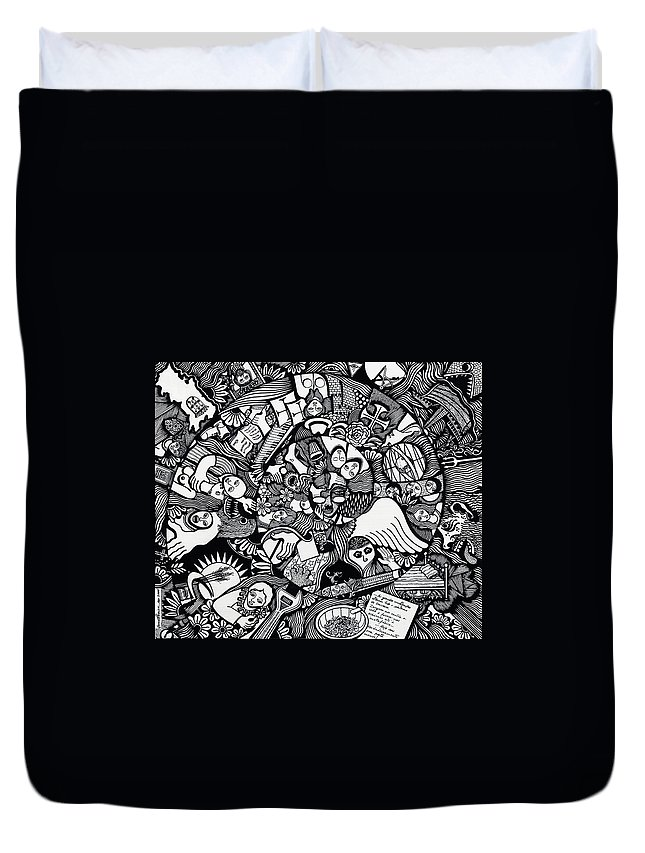 Drawing Duvet Cover featuring the drawing What I Used To Be Was A Desire Which As Gone by Jose Alberto Gomes Pereira