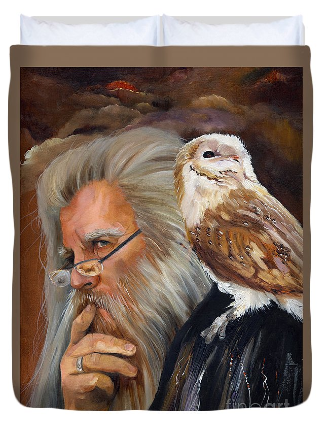 Wizard Duvet Cover featuring the painting What If... by J W Baker