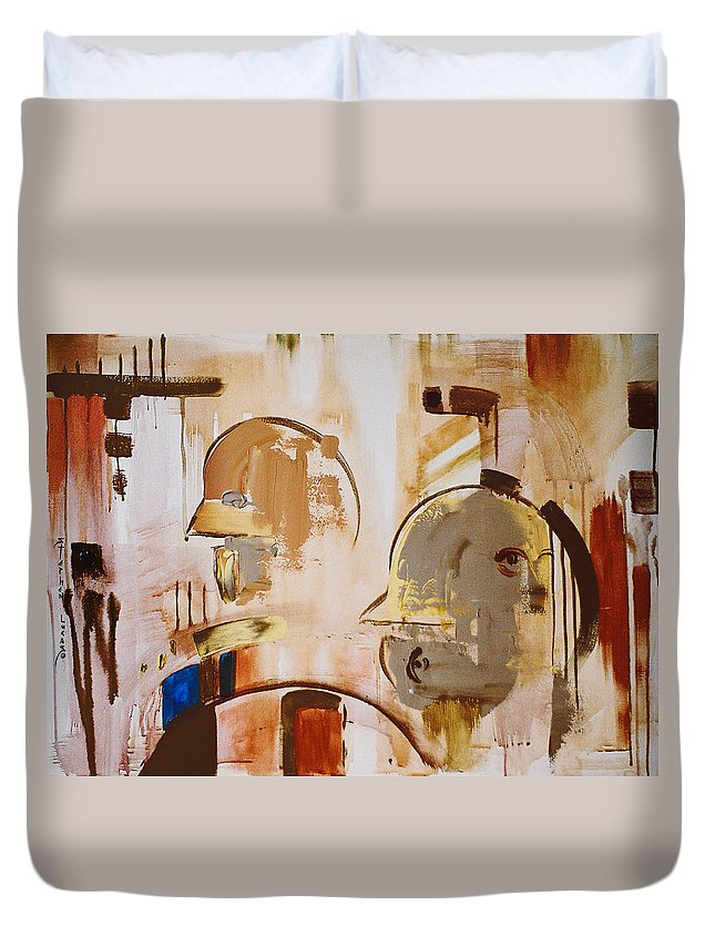 Abstract Duvet Cover featuring the painting What Is Identity by Stephen Lucas