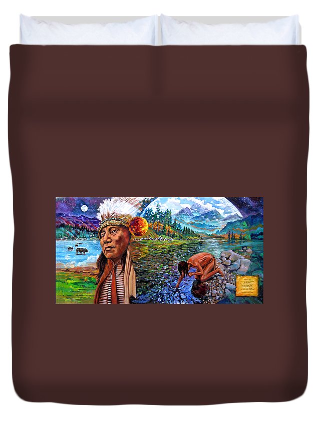 Indian Duvet Cover featuring the painting What Is Life by John Lautermilch