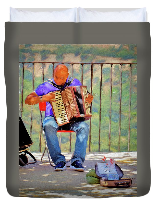 Spain Duvet Cover featuring the photograph What's That Tune? by Claude LeTien